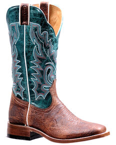 Boulet Women's Blue Shaft Western Boots - Wide Square Toe, Brown, hi-res
