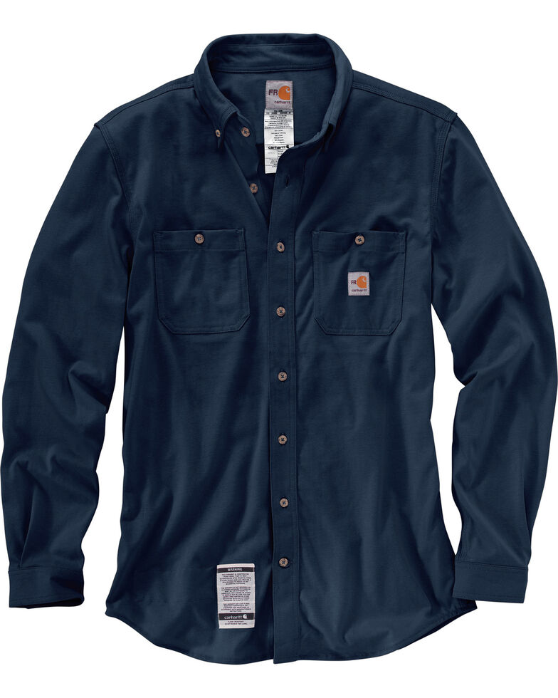 Carhartt Men's Navy Flame-Resistant Force Cotton Hybrid Shirt - Big & Tall, Navy, hi-res