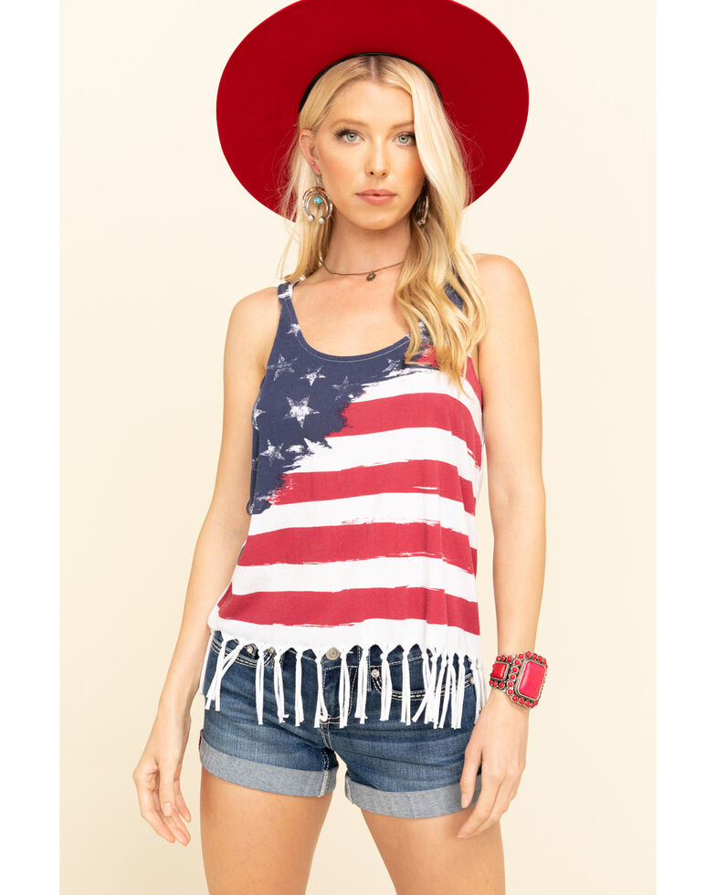 Others Follow Women's American Flag Fringe Tank Top, Navy, hi-res