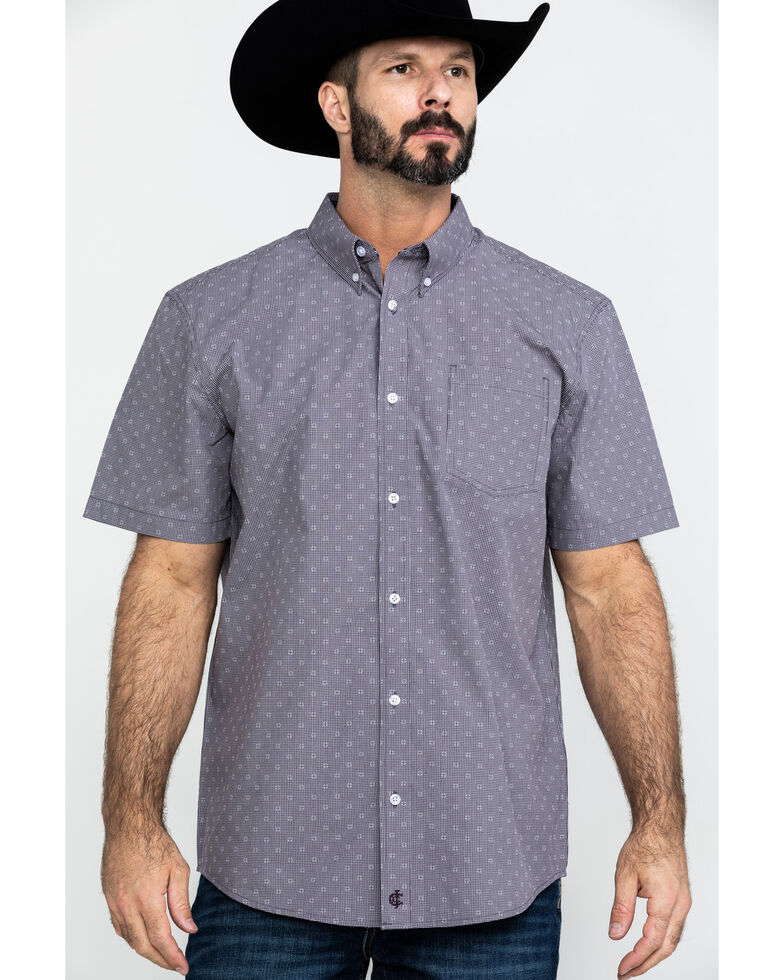 Cody James Core Men's Crossed Up Check Plaid Short Sleeve Western Shirt , Purple, hi-res