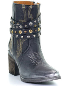 Circle G Women's Harness and Studded Booties - Round Toe, Black, hi-res