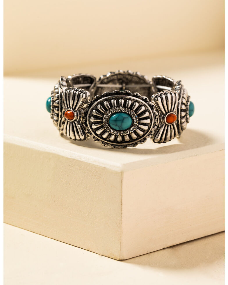 Shyanne Women's In The Oasis Concho Stretch Bracelet, , hi-res
