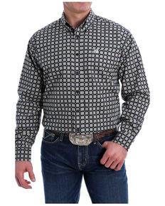 Cinch Men's Black Large Medallion Geo Print Long Sleeve Button-Down Western Shirt , Black, hi-res