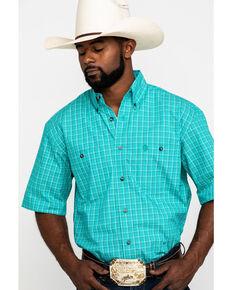 George Strait by Wrangler Men's Emerald Check Plaid Short Sleeve Western Shirt , Green, hi-res