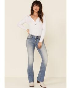 Miss Me Women's Light Wash Heavy Zigzag Stitch Bootcut Jeans , Blue, hi-res