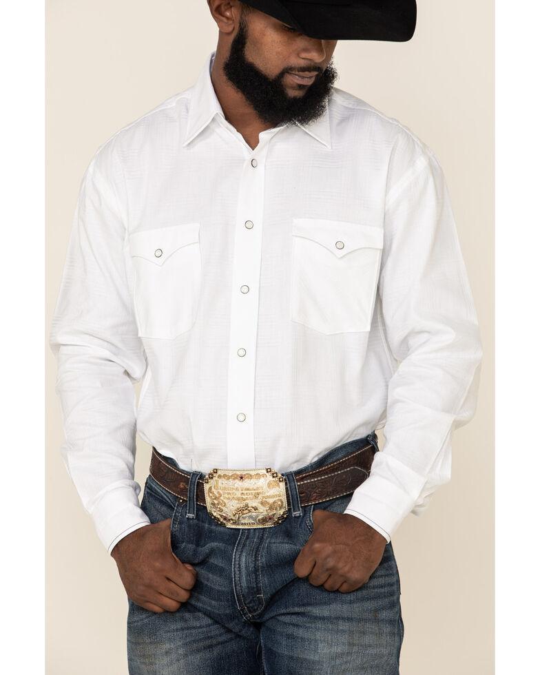 Rough Stock By Panhandle Men's Curnelian Tonal Plaid Long Sleeve Western Shirt , White, hi-res