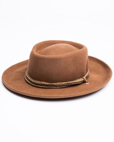 Shyanne Women's Wool Gambler Hat, Tan, hi-res