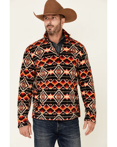 Powder River Outfitters Men's Red & Black Aztec Print 1/4 Zip Fleece Pullover , Black, hi-res