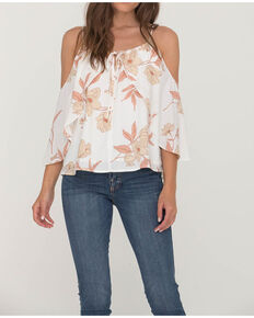 Miss Me Women's Ivory Floral Flutter Cold Shoulder Top, Ivory, hi-res