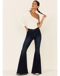 Panhandle Women's Dark Wash High Rise Bargain Bell Flare Jeans , Medium Blue, hi-res