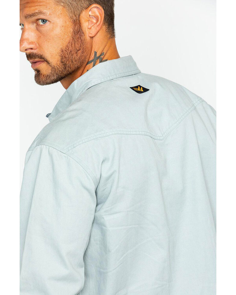 Hawx Men's Twill Snap Long Sleeve Western Work Shirt - Tall , Grey, hi-res