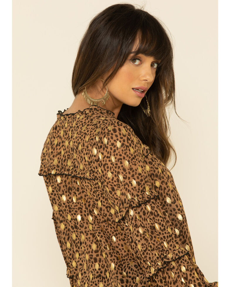 Mystree Women's Brown Leopard Foil Puff Sleeve Blouse Top, Leopard, hi-res