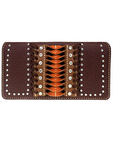 Montana West Women's Pink Stitch Wallet, Dark Brown, hi-res