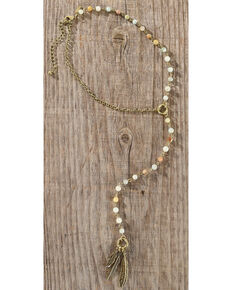 Shyanne Sunset Y-Shaped Necklace with Feather Charms , Bronze, hi-res
