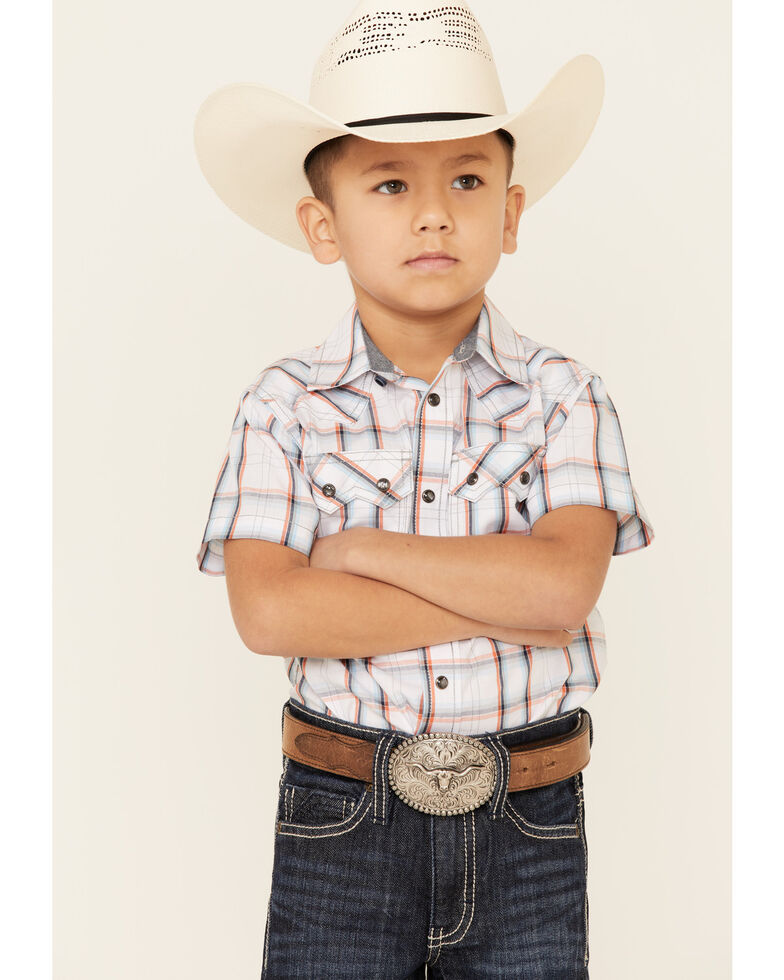 Cody James Toddler Boys' Neon Glow Plaid Short Sleeve Western Shirt , White, hi-res