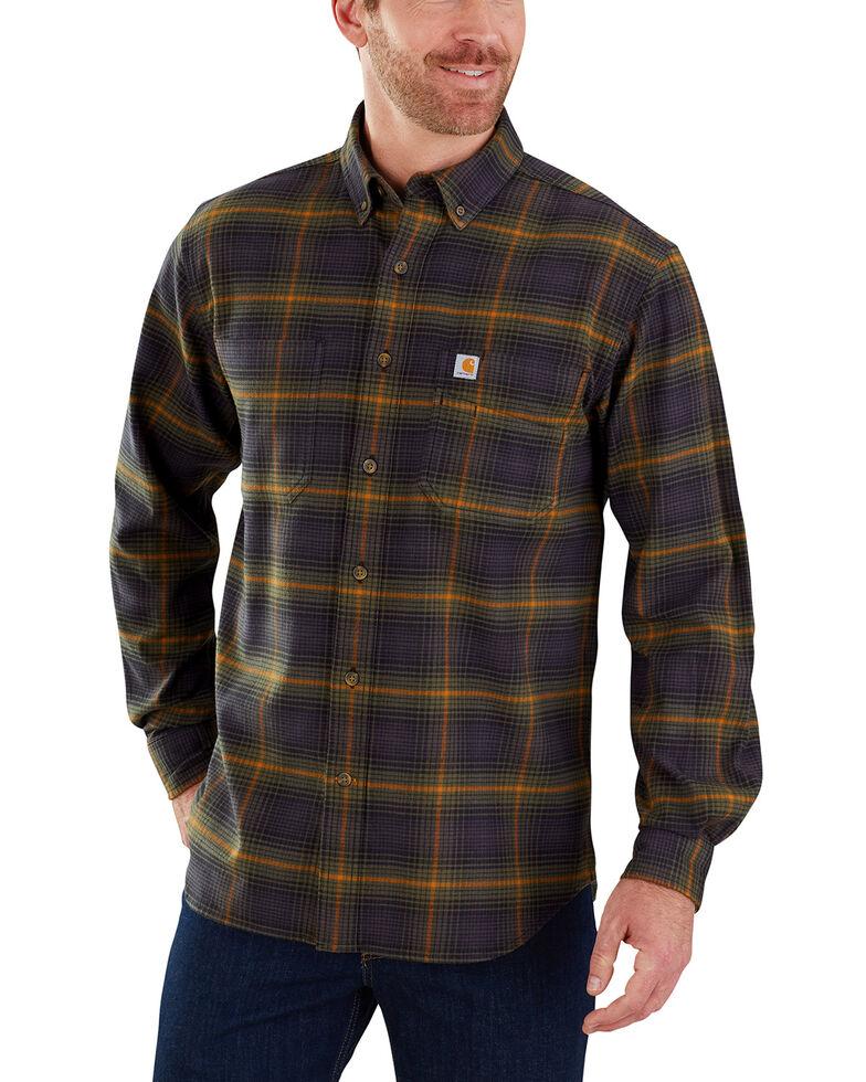 Carhartt Men's Rugged Flex Hamilton Plaid Long Sleeve Work Shirt , Olive, hi-res