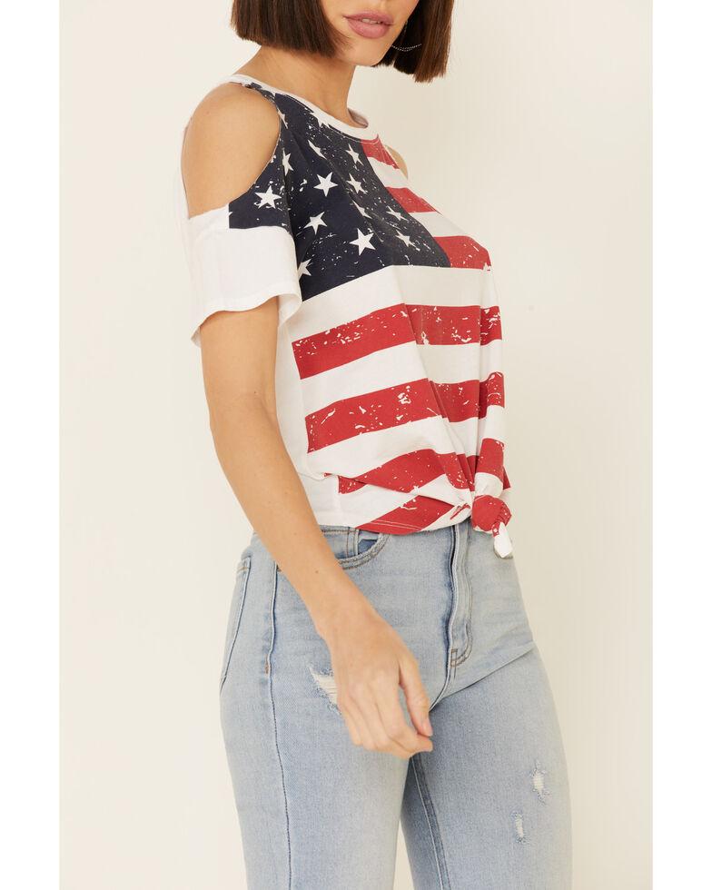 Shyanne Women's Flag Cold Shoulder Tie-Up Top  , White, hi-res