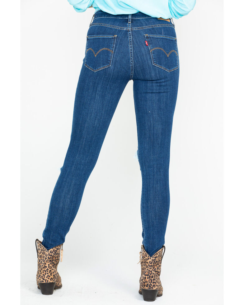 Levis Women's 721 High Rise Skinny Destructed Jeans , Blue, hi-res
