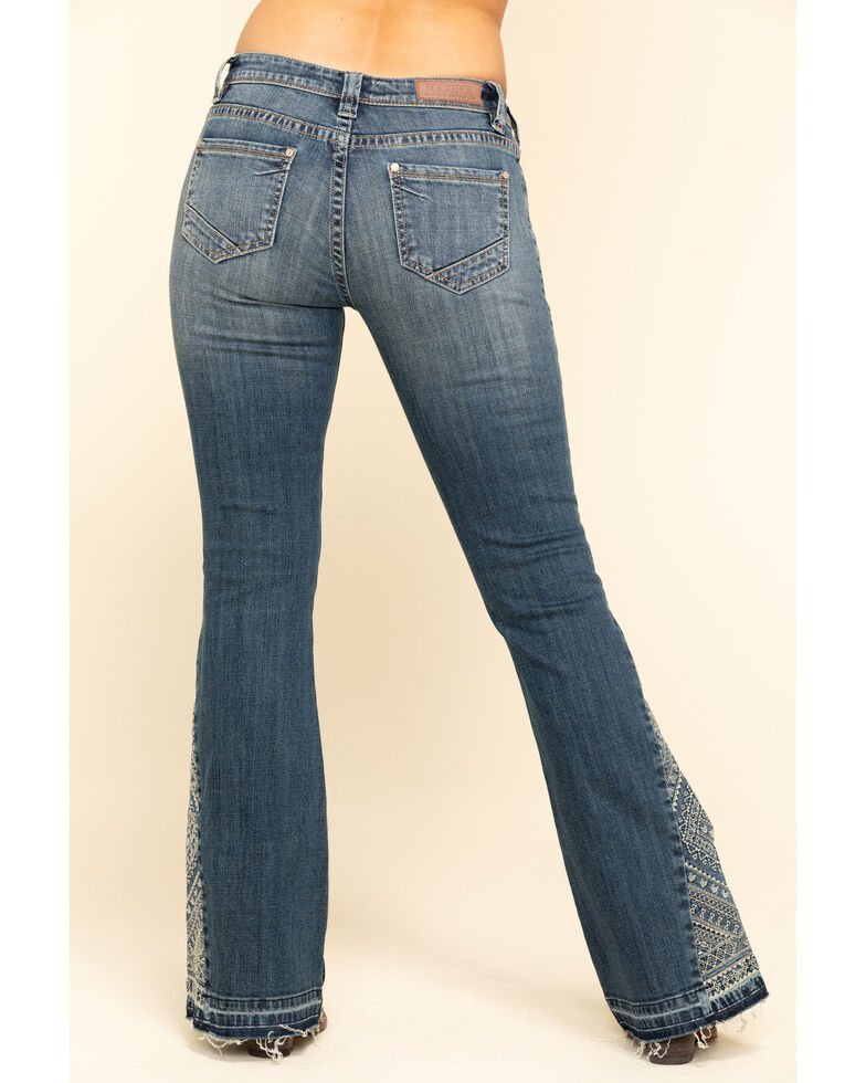 Rock & Roll Denim Women's Embroidered Trousers, Blue, hi-res