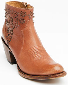 Shyanne Women's Lucy Fashion Booties - Round Toe, Cognac, hi-res