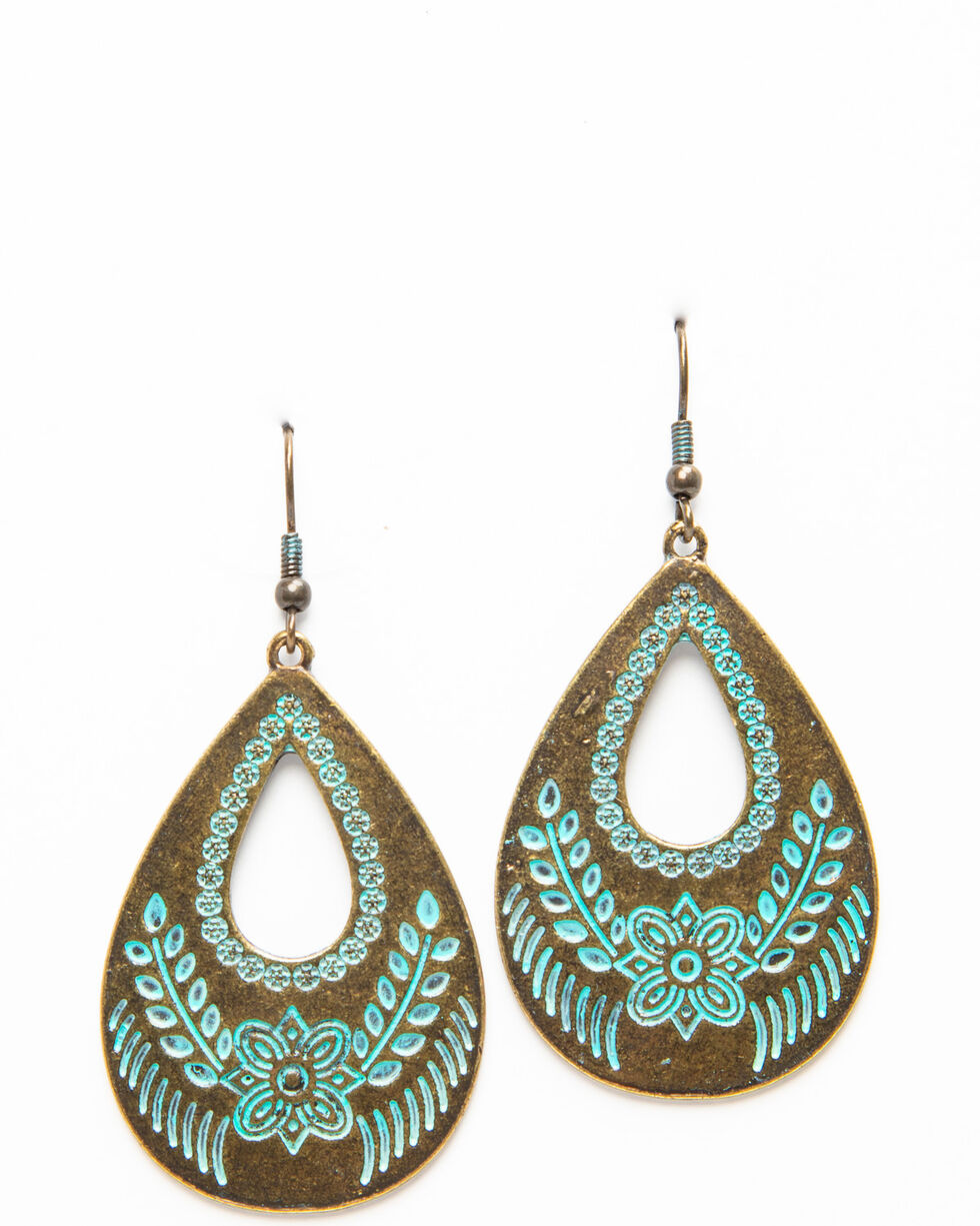 Shyanne Women's Brass Teardrop With Aztec Print Earrings, Bronze, hi-res