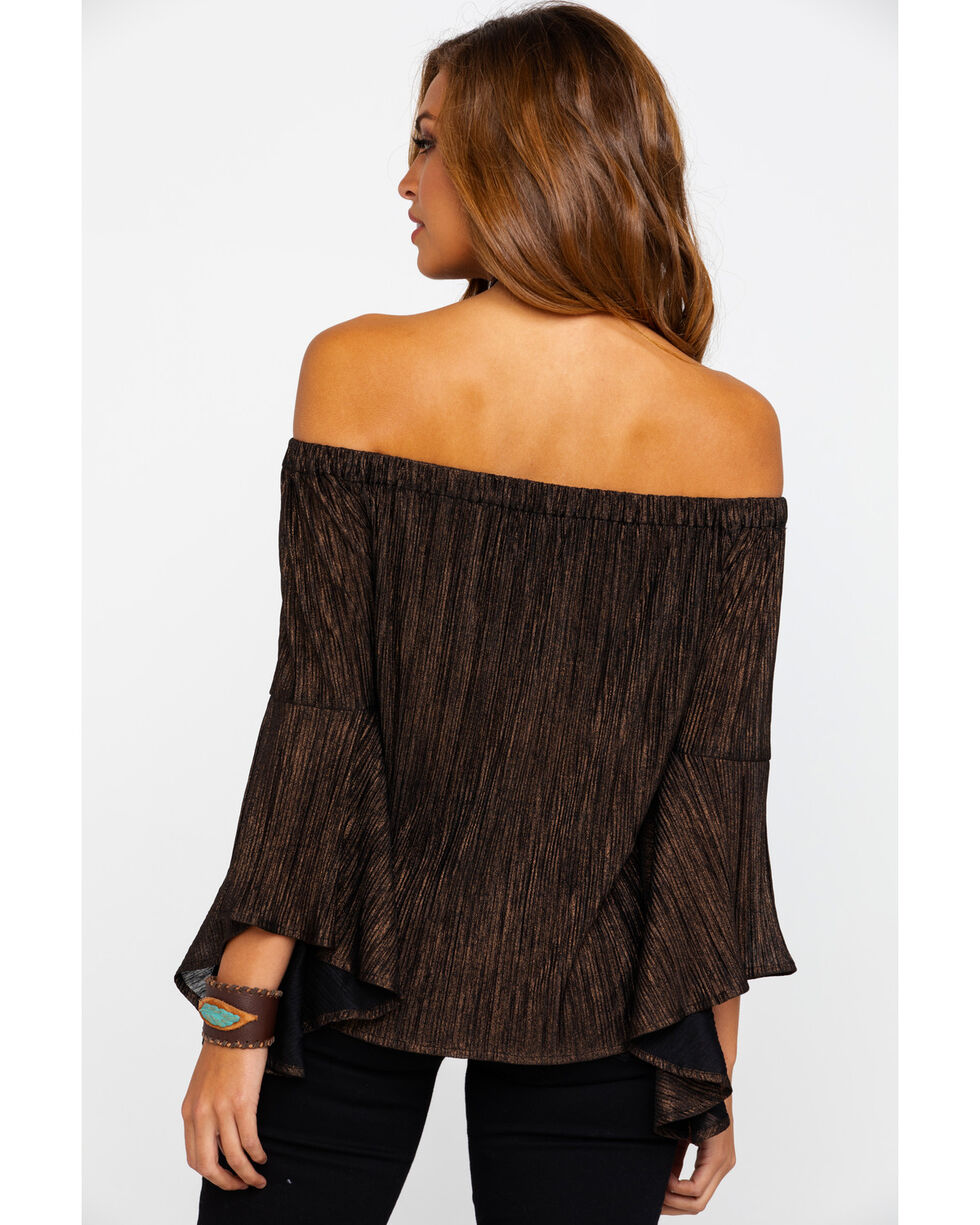 Shyanne Women's Pleated Bell Sleeve Top , Rust Copper, hi-res