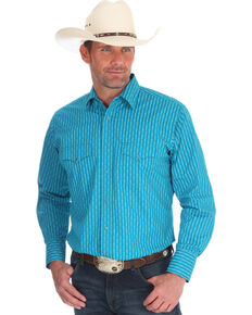 Wrangler Men's Silver Edition Turquoise Striped Long Sleeve Western Shirt , Turquoise, hi-res