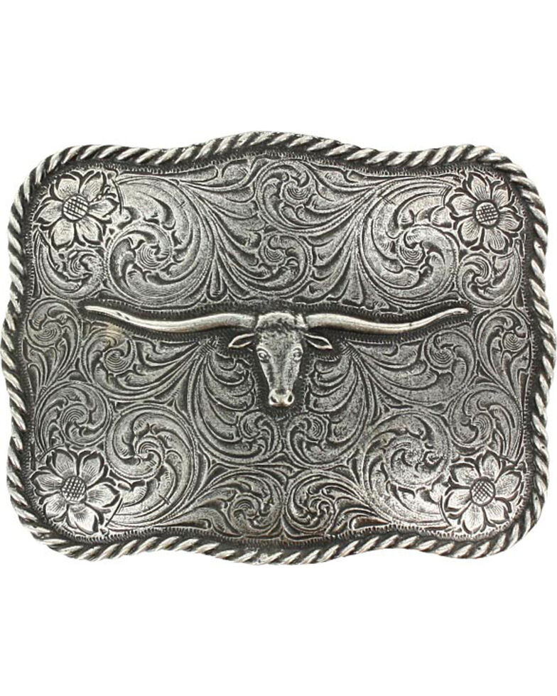 Cody James® Men's Texas Longhorn Belt Buckle, Silver, hi-res