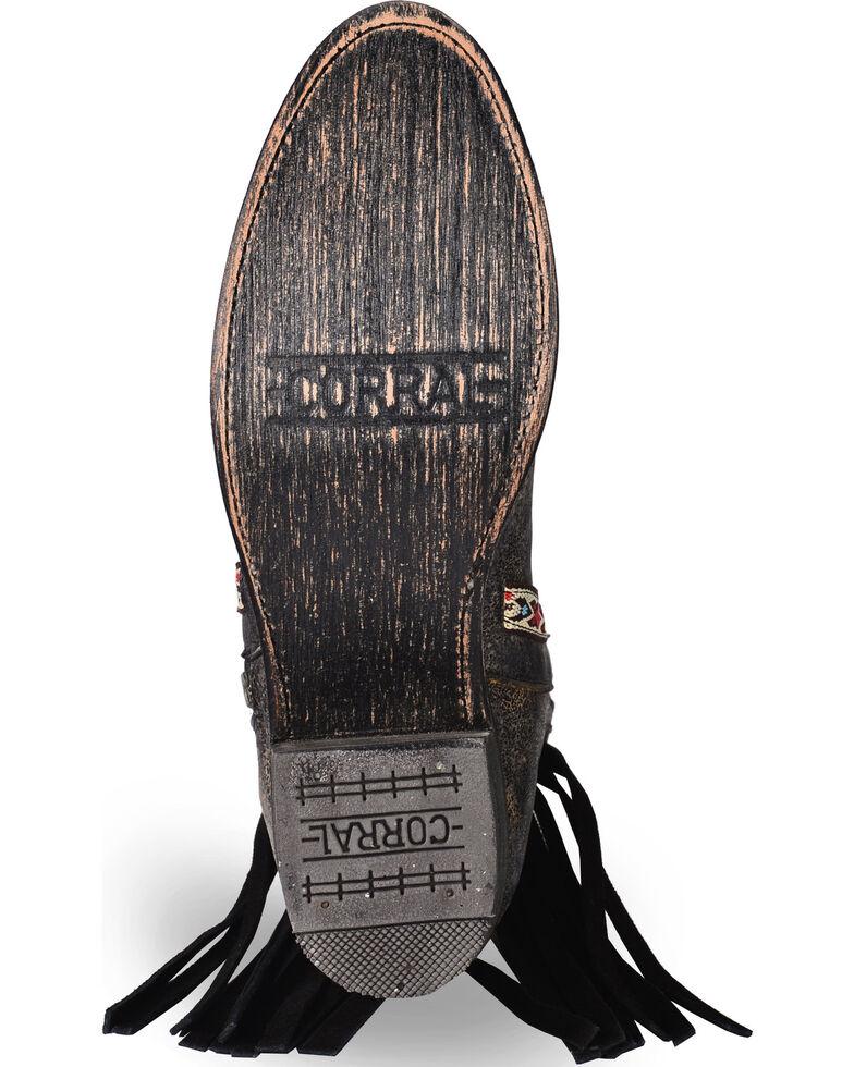 Corral Women's Fringe Booties - Medium Toe , Black, hi-res