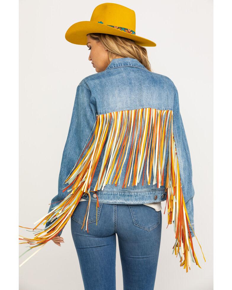 Honey Creek by Scully Women's Colorful Fringe Denim Jacket, Blue, hi-res