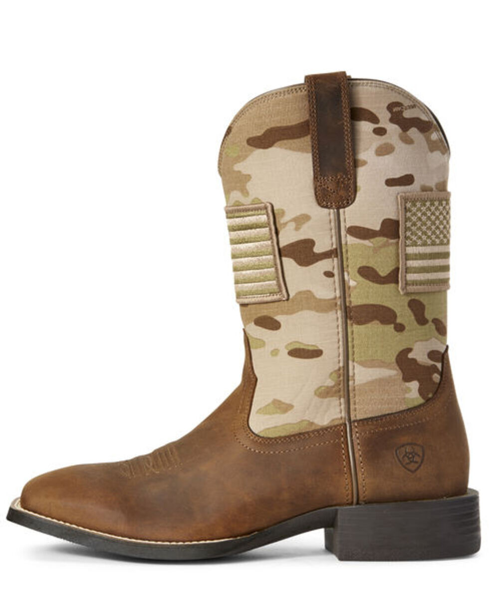 Ariat Men's Sport Patriot Multicamo Western Boots - Wide Square Toe, Brown, hi-res