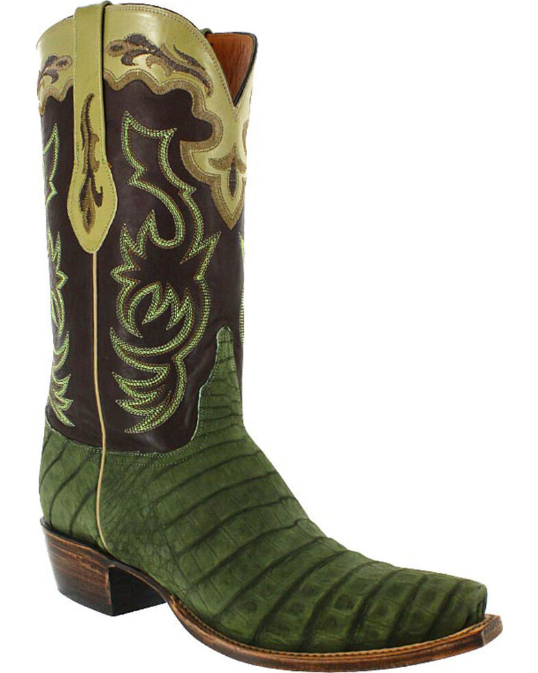 Lucchese Men's Handmade Caiman and Suede Western Boots - Snip Toe, Olive, hi-res