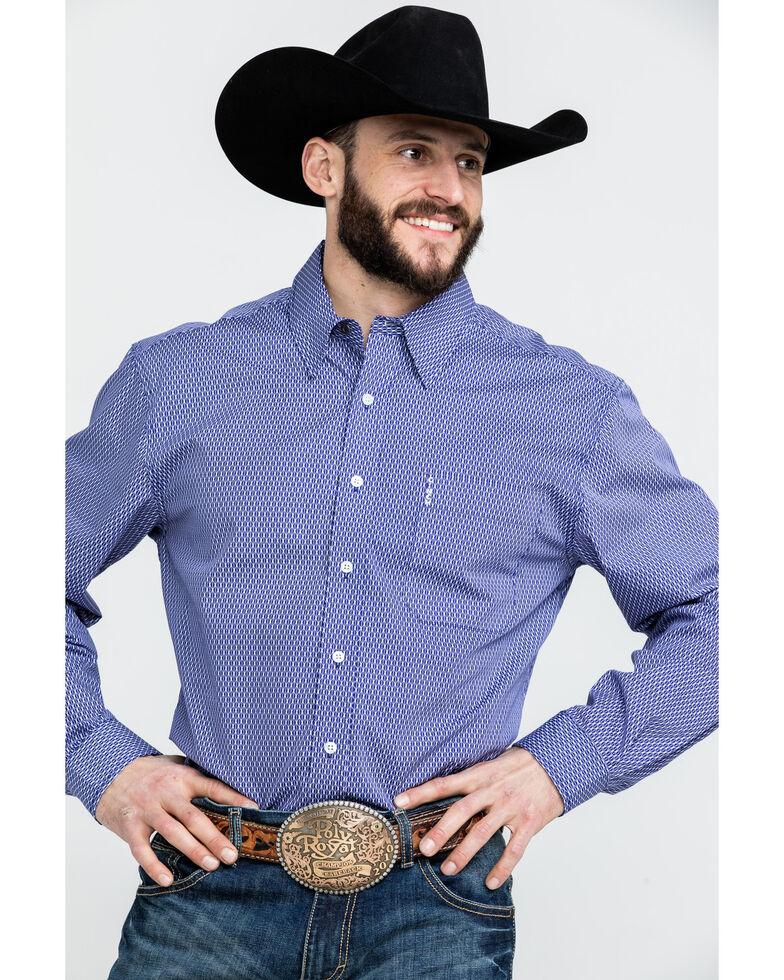 Cinch Men's Diamond Geo Print Long Sleeve Western Shirt , Blue, hi-res