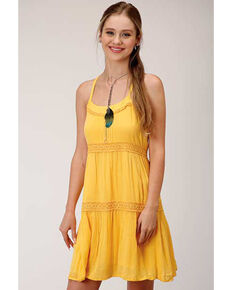 Five Star Women's Yellow Crochet Halter Dress, Yellow, hi-res