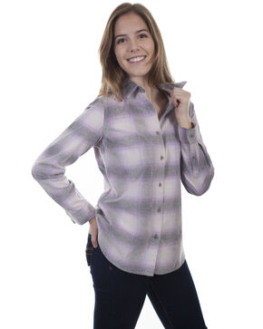Honey Creek by Scully Women's Purple Cream Corduroy Plaid Blouse, Purple, hi-res