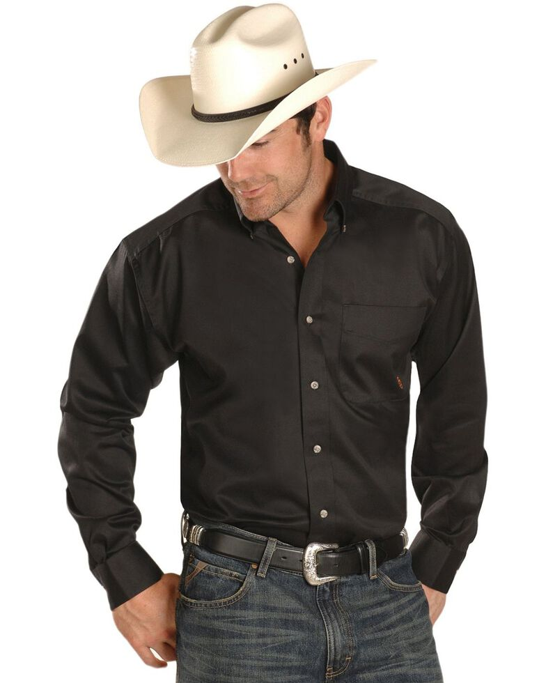 Ariat Men's Solid Twill Long Sleeve Western Woven Shirt, Black, hi-res