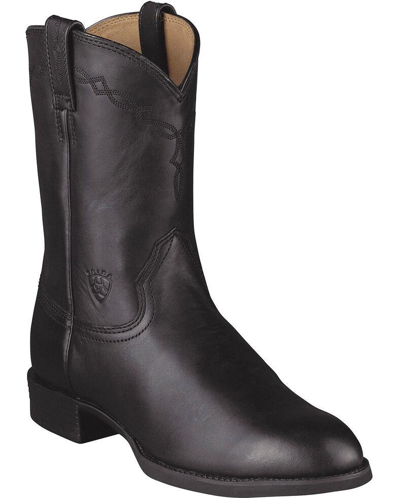 Ariat Men's Heritage Roper Cowboy Boots, Black, hi-res