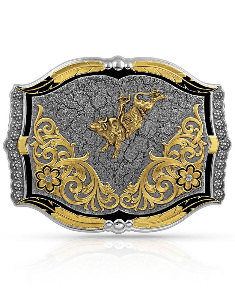 Montana Silversmiths Men's Cracked Dirt Bull Rider Buckle, Silver, hi-res