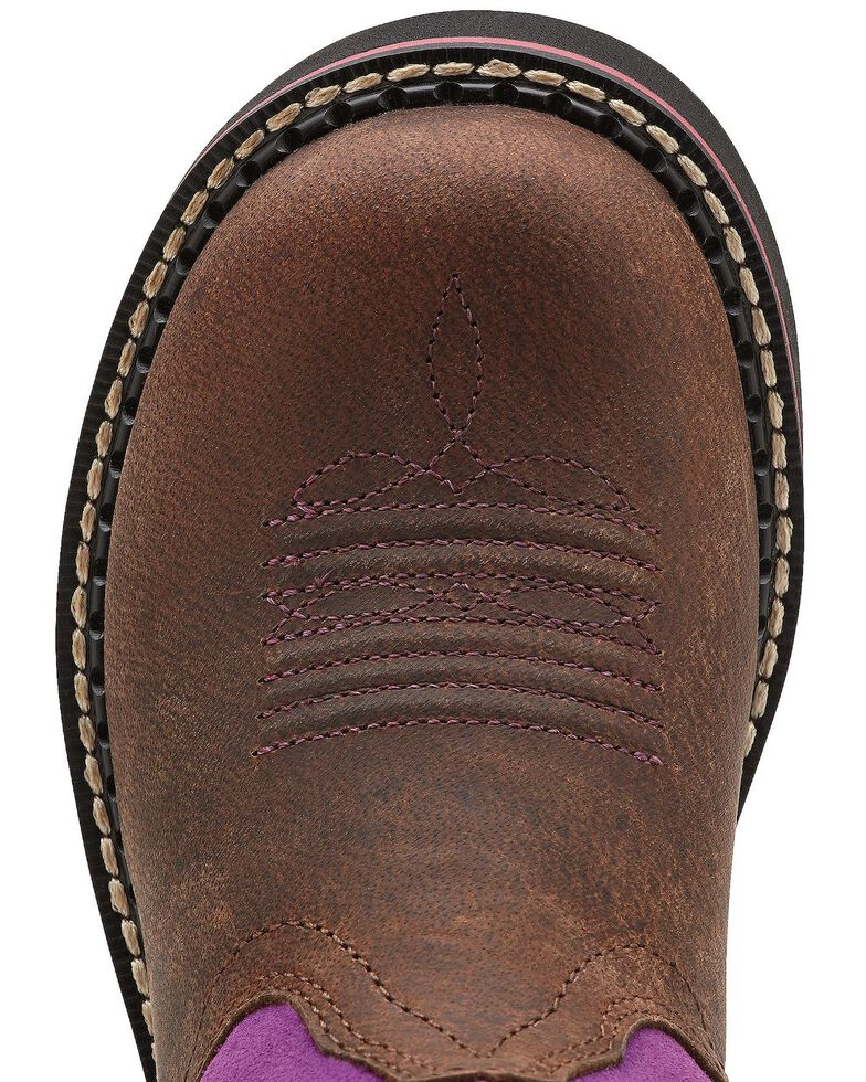 Ariat Youth Girls' Fatbaby Thunderbird Cowgirl Boots - Round Toe, Brown, hi-res