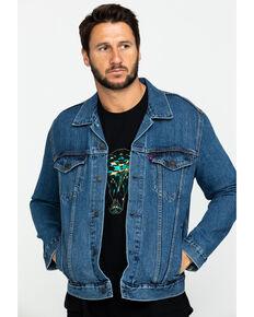 Levi's Men's Medium Stonewash Denim Trucker Jacket , Indigo, hi-res