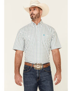 George Strait By Wrangler Men's Emerald Small Plaid Short Sleeve Button-Down Western Shirt , Green, hi-res