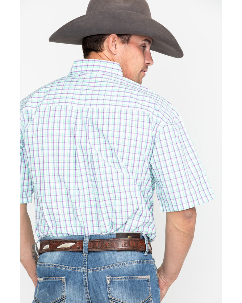 George Strait by Wrangler Men's Multi Small Plaid Short Sleeve Western Shirt, Purple, hi-res