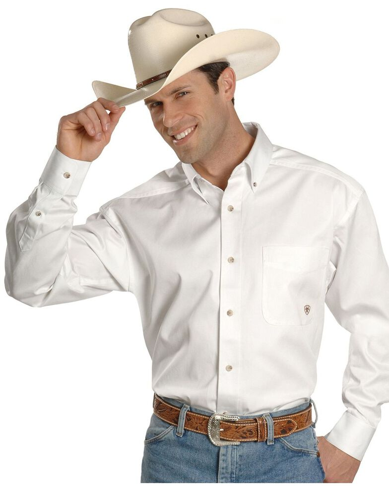 Ariat Men's Solid Twill Long Sleeve Western Woven Shirt, White, hi-res