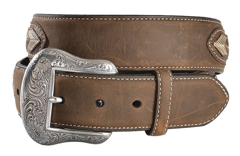 Nocona Leather Overlay String Lace Concho Belt, Med Brown, hi-res