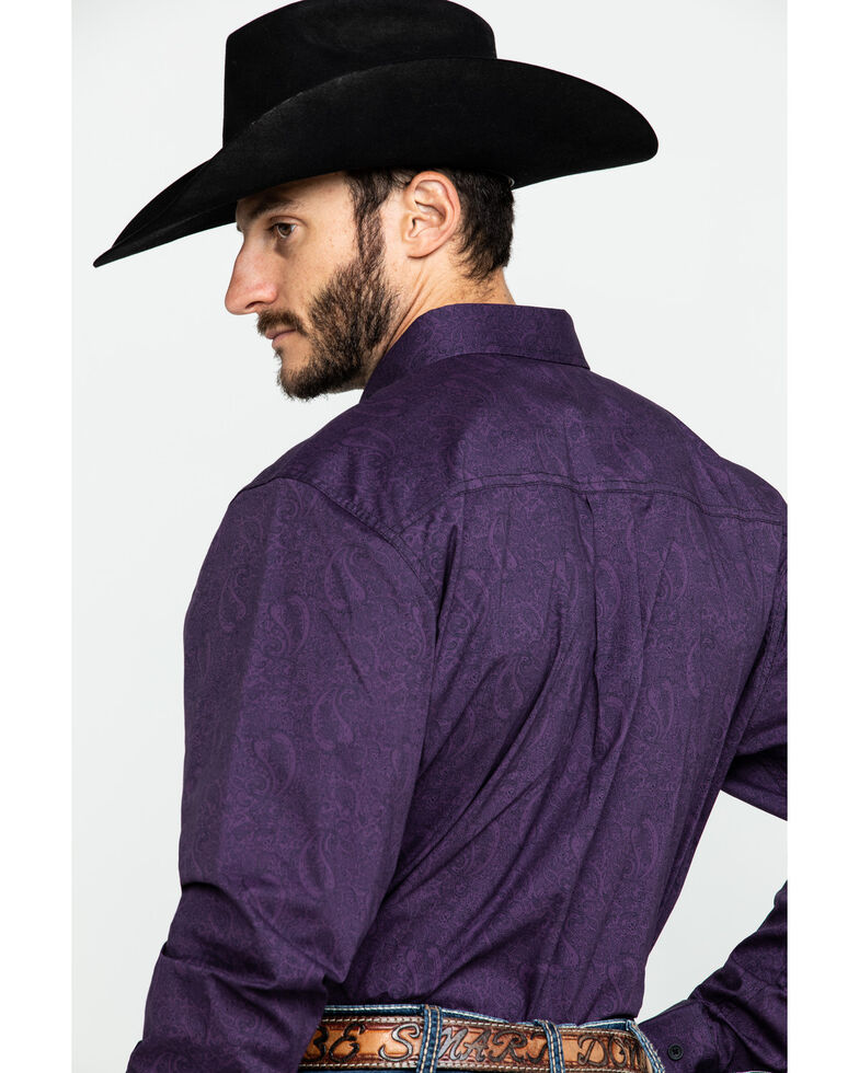 Cody James Core Men's Artemis Paisley Print Long Sleeve Western Shirt , Purple, hi-res
