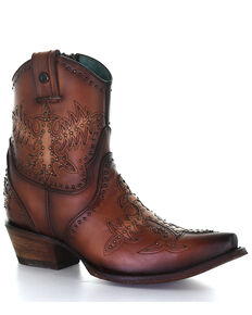 Corral Women's Brown Overlay & Studs Western Boots - Snip Toe, Brown, hi-res