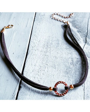 Jewelry Junkie Women's Gold Hoop Leather Choker , Gold, hi-res