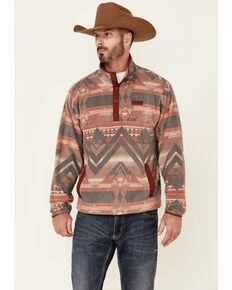 Cinch Men's Burgundy Aztec Stripe 1/4 Snap Front Fleece Pullover , Burgundy, hi-res