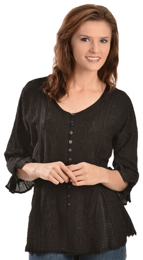 Scully Floral Embroidered Ruffled Sleeve Top, Black, hi-res
