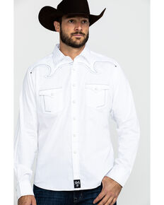 Rock 47 By Wrangler Men's White Solid Long Sleeve Western Shirt , White, hi-res